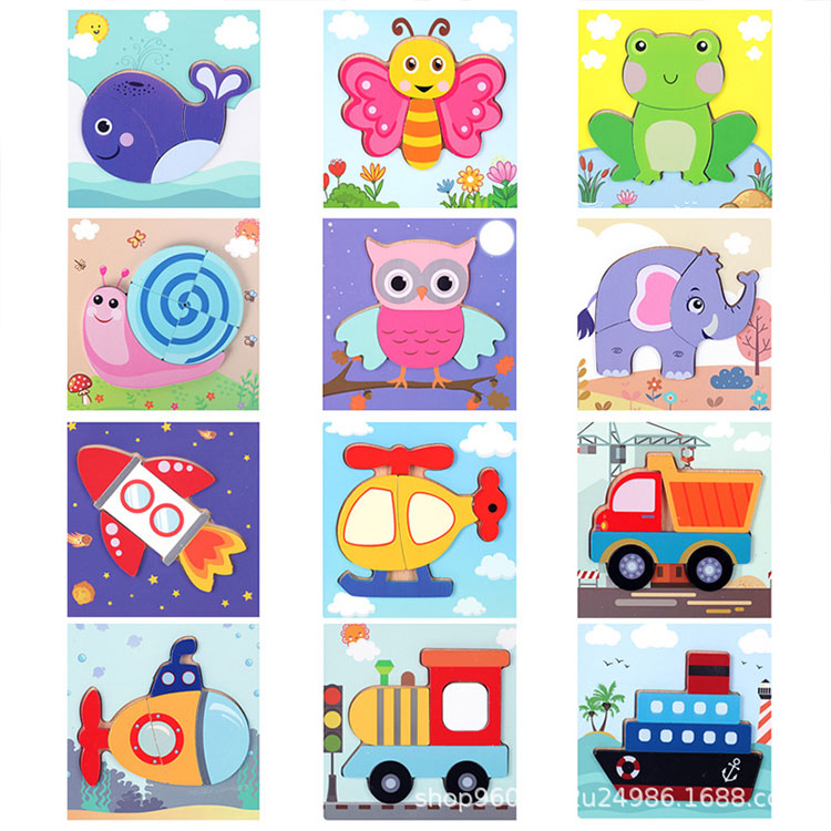Baby Cute Cartoon Animal Educational Montessori Toys Wooden Puzzle Game