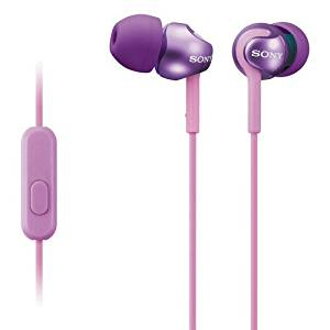 SONY EX MONITOR HEADPHONES W/ MIC 1.2M CORD VIOLET / MDREX110AP/V /