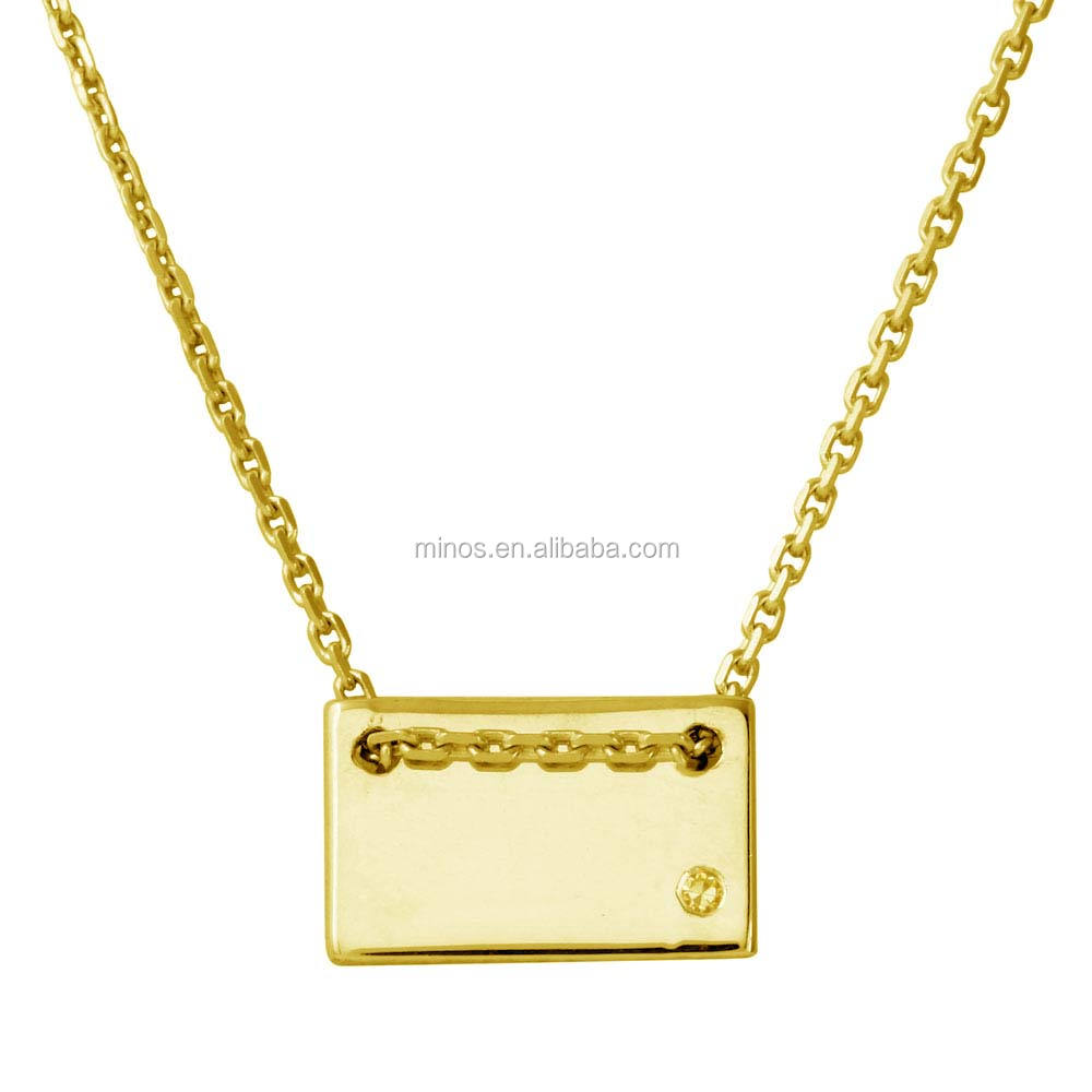 custom Engraved Small Rectangle Shaped Necklace with CZ Gold Plated
