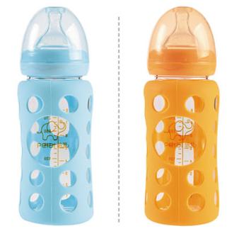 Hoge kwaliteit 180ml brede hals borosilicaatglas baby baby zuigfles met siliconen beschermhoes