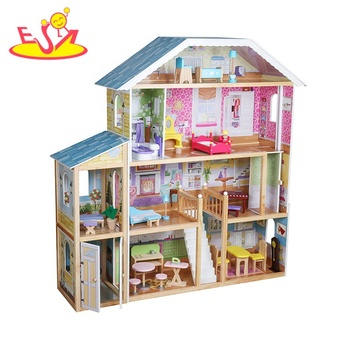 2019 New design kids play wooden large dolls house with parking lot W06A358B