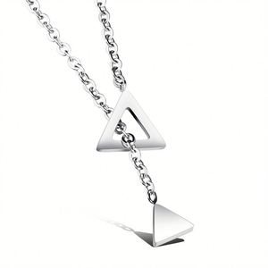 Wholesale Fashion Jewelry Stainless Steel Double Triangle Design Silver Pendant