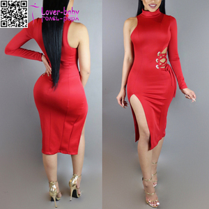 Bohemian style mother of the bride one shoulder high split Red Dress L36171