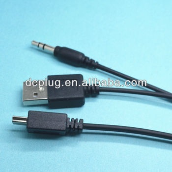 Mini 5p Male Split Usb And 3.5mm Male Plug Wires