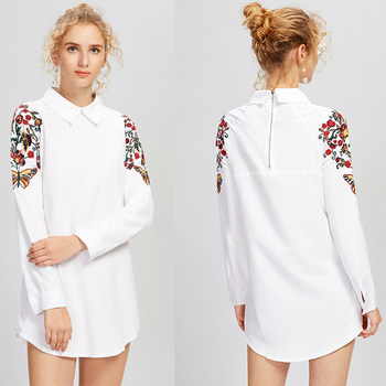 Chinese Supplier Wholesale Blouse Women White Color Peter Pan Collar