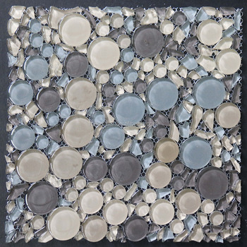 Bsm011 Crystal Clear Round Pebble Mix Irregular Chip Gl Mosaic Wall Tile Brick Modern Free