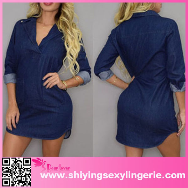 Hot Sale Wholesale Stand Collar Denim Shirt Evening Dress In Turkey Blue