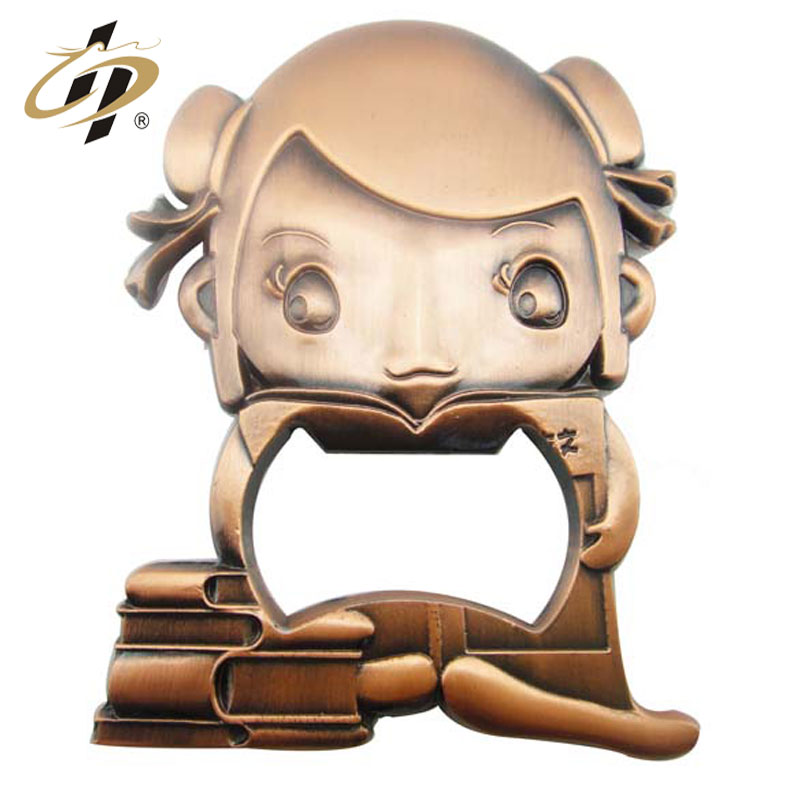 2019 Wholesale cheap custom die casting red bronze Beautiful girl bottle opener for cartoon character