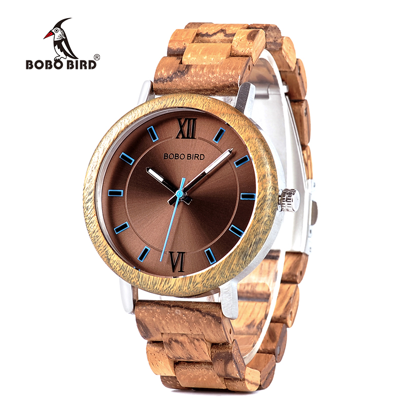 BOBO BIRD China supplier natural zebra handmade men wooden wrist watch with verawood shell, Picture