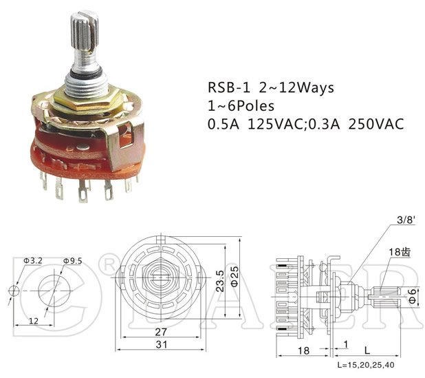 4 Position Rotary Fan Switch on