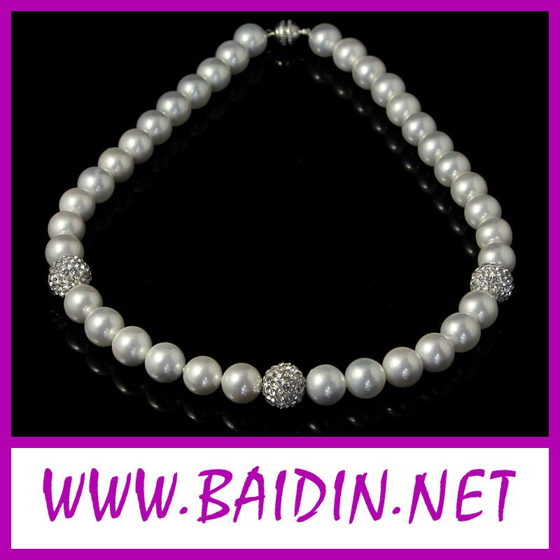 Shamballa pearl cross charm necklace wholesale