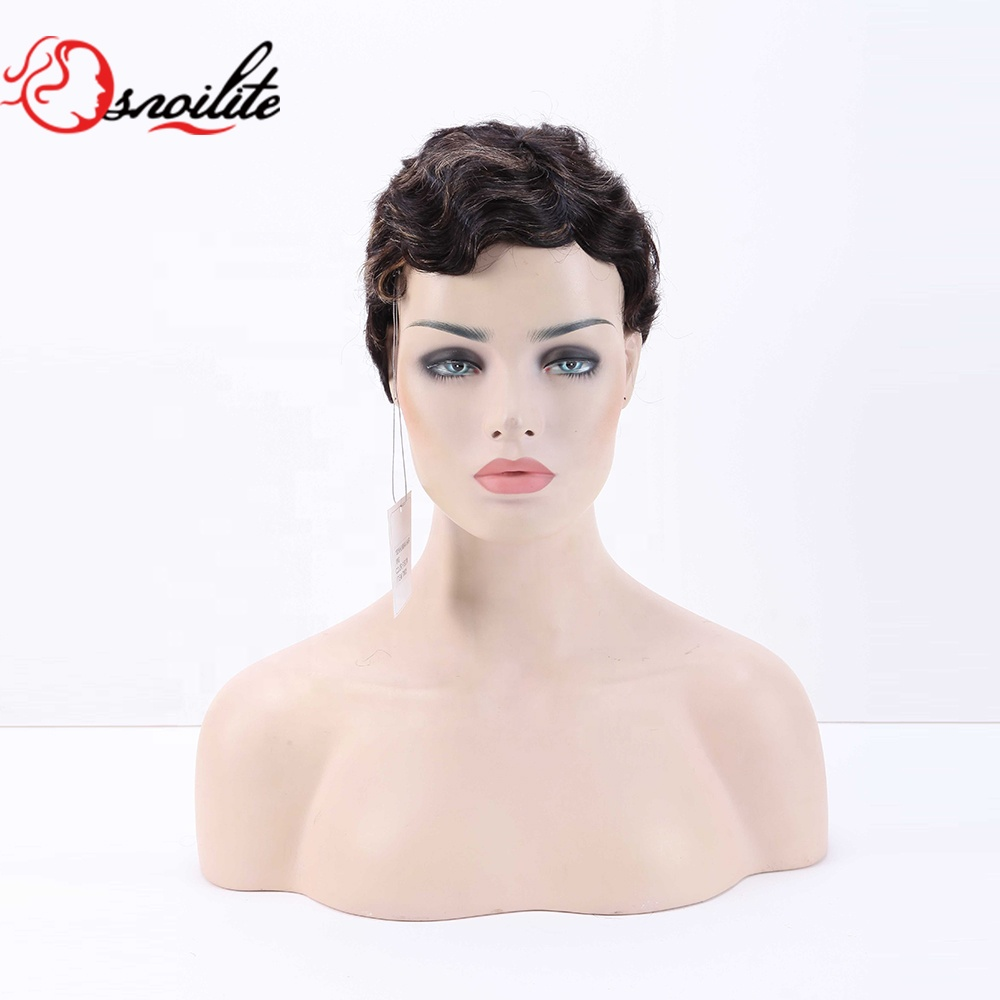 100% Human hair Pixie cut finger wave curly brown wig ,short human hair wig for black women фото