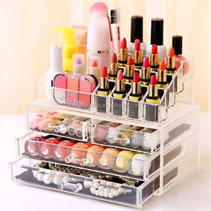 Custom Beautify Clear Acrylic Cosmetic Makeup Display Storage Table 4 Drawers Organiser for two purpose