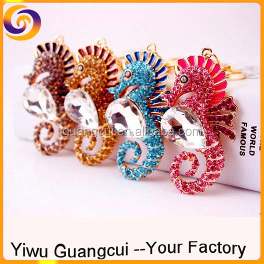3D zinc alloy rhinestone sea horse key ring keychain