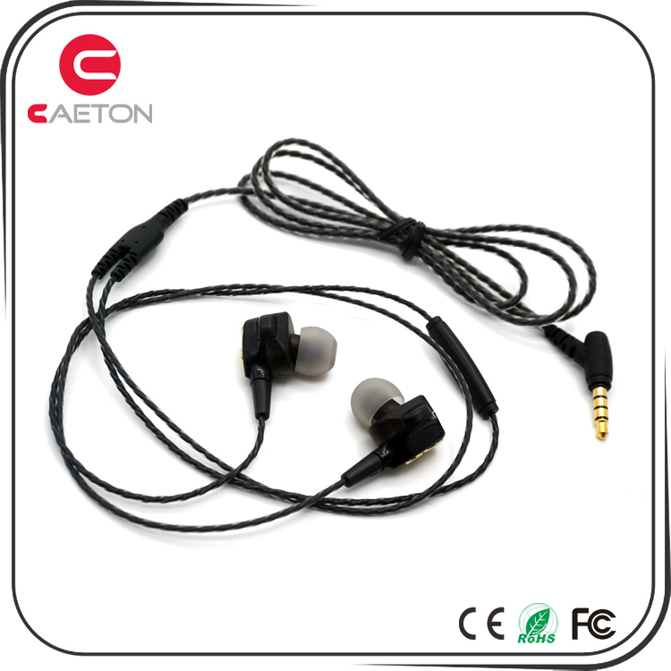 Cool Style Dual Drivers 3.5mm Wired In Ear Headphone Metal Headset Private Mold Earphone