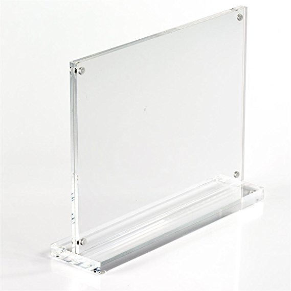 Acrylic desktop sign holder T-shaped table tents with magnet enclosures