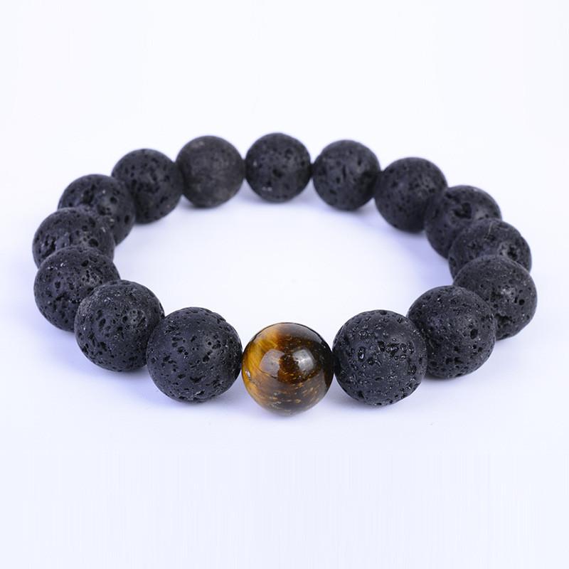 Cheap Wholesale Lava Stone Gold Lion Head Beaded Chakra Bracelet For Couple Jewelry, Black