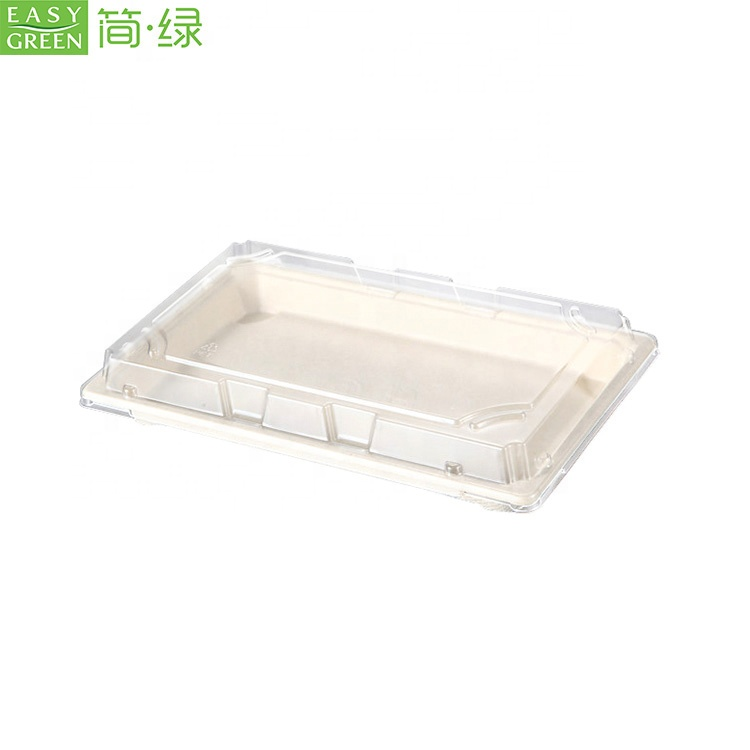 Easy Green Sugarcane Bagasse Pulp Biodegradable Sushi Container Tray