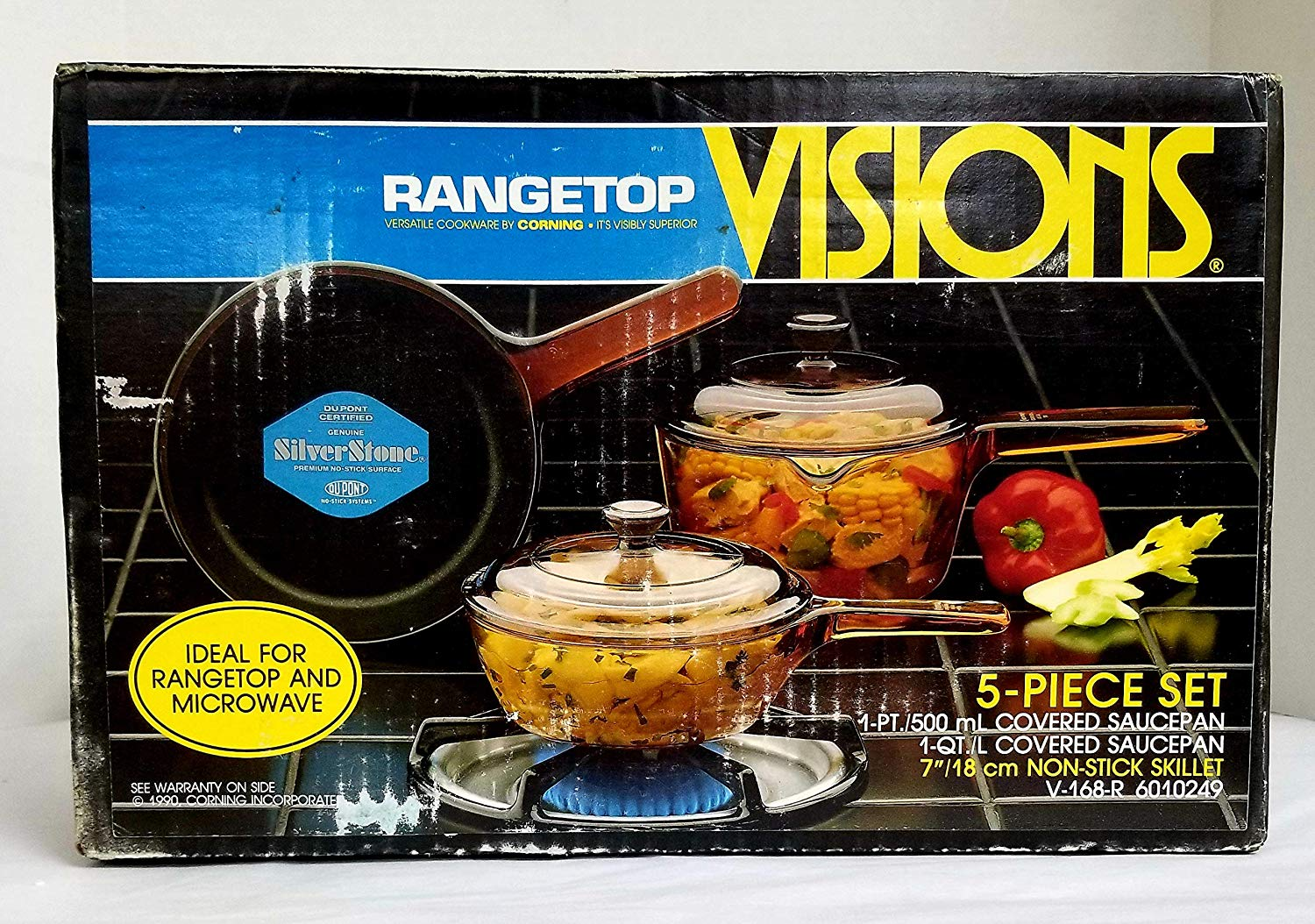 Vintage 1990 New Old Stock Corning Visions 5-Piece Cookware Set, V-168-R