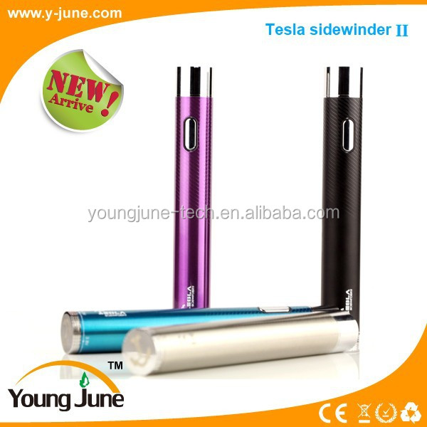 Newest original patent design variable voltage Tesla vv battery ecig 2000mah twist Tesla Sidewinder II