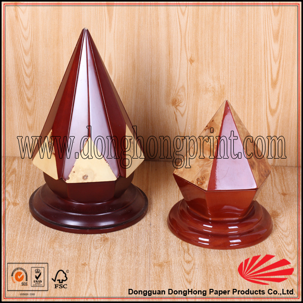 High Quality Custom Made Wooden Pyramid Jewelry Box Packaging Box