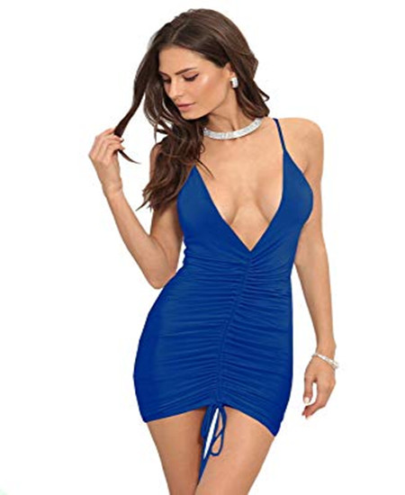 MAGICMK Women's Sexy bodycon Spaghetti Straps Deep V Neck Sleevelessc Club Party Dress фото