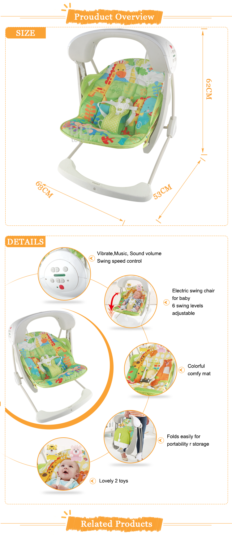 Electric baby rocker chair - New Moving Baby Rocker Music And Vibrate Electric Baby Swing Chair