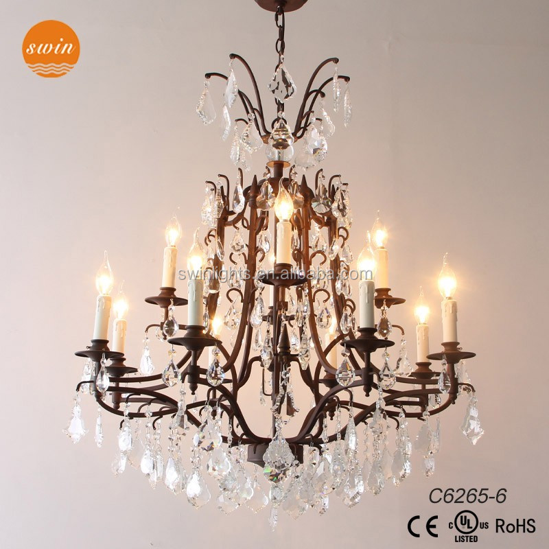 Wholesale big crystal chandelier lamp 12-lights wrought iron lighting C6265-6
