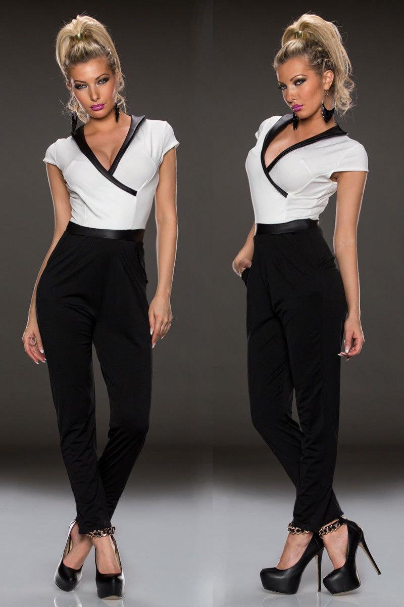 Ladies Black And White Jumpsuit Fashion Ql