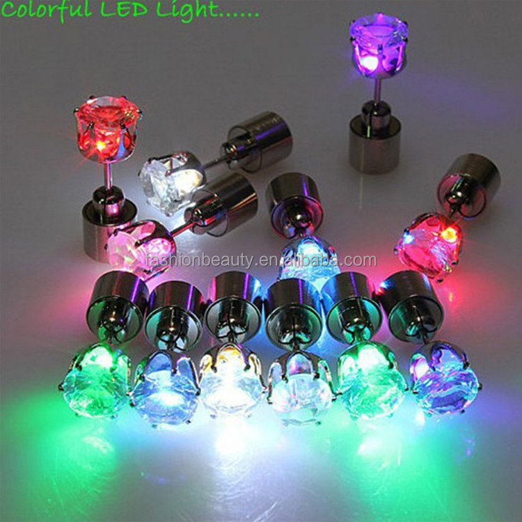 Party Twinkle LED Earring Halloween Light Up Crown Ear Stud Christmas Luminous Stainless Steel Earring Lot