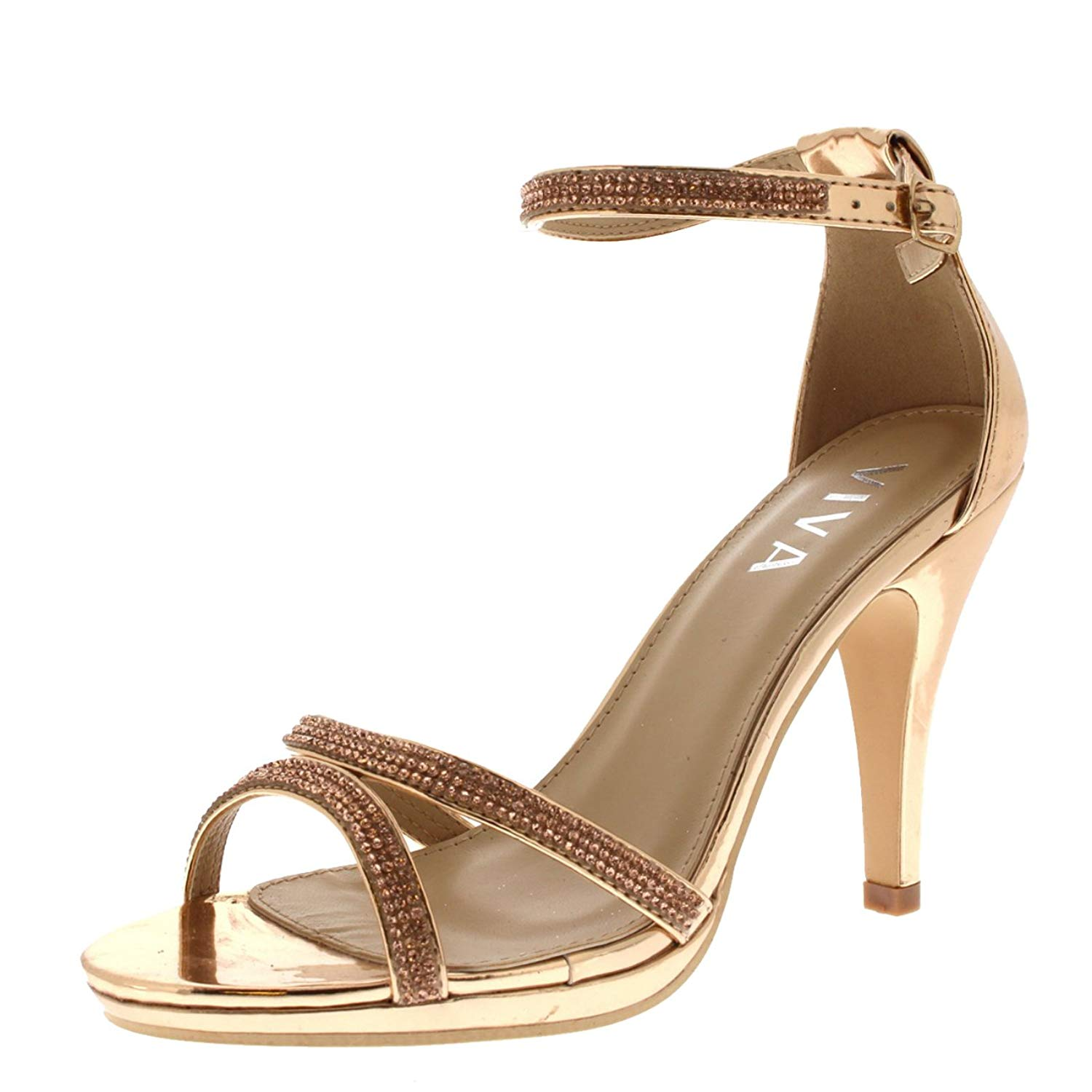 Viva Womens Diamante Mid Heel Ankle Strap Wedding Party Metallic Sandals Shoes