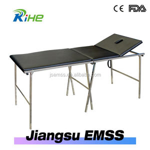 Stainless steel first aid portable 3 sections hospital patient examination couch
