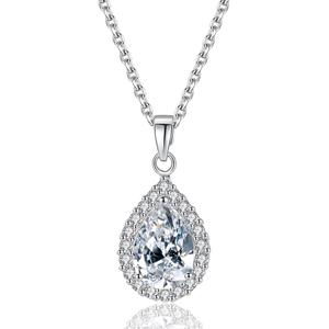LUOTEEMI Wholesale Free Shipping Fast Express 2015 Women Emerald CZ Water Drop Shape Elegant Bridal Pendant Necklace