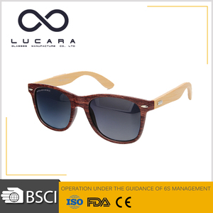 Glazzy PC Frame bamboo temple AC lens low price oem logo promotion sunglasses