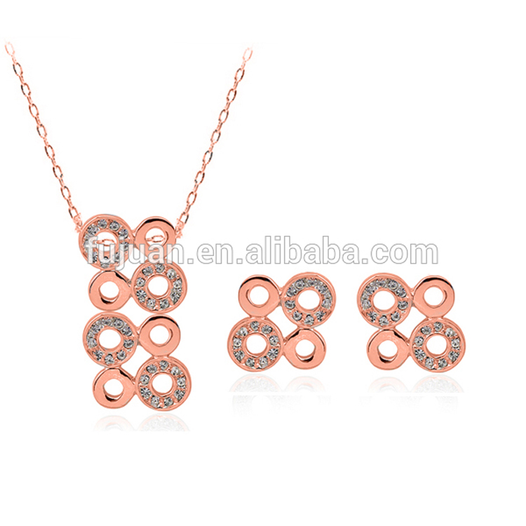 New arrival rose gold necklace set with diamonds