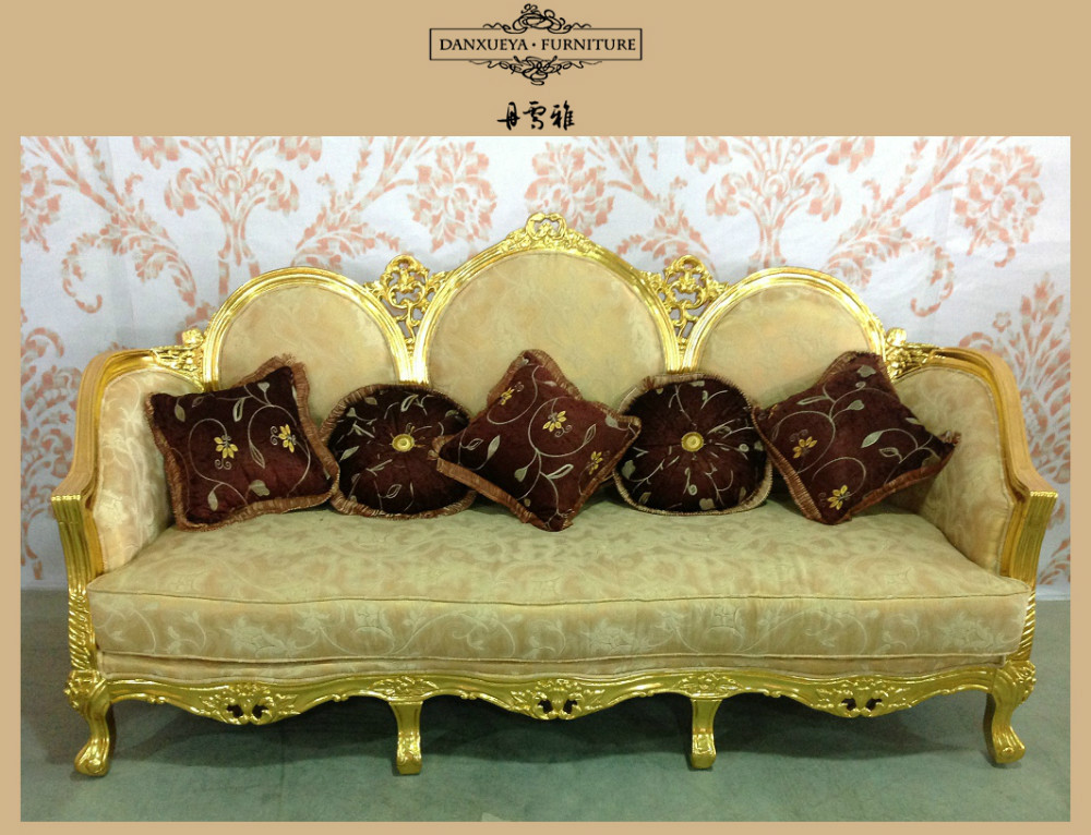 Classic Royal Antique Golden Velvet Wooden Frame Dubai Sofa Furniture