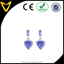 Custom design CZ heart shaped pendant earring designs custom design colored stone earrings
