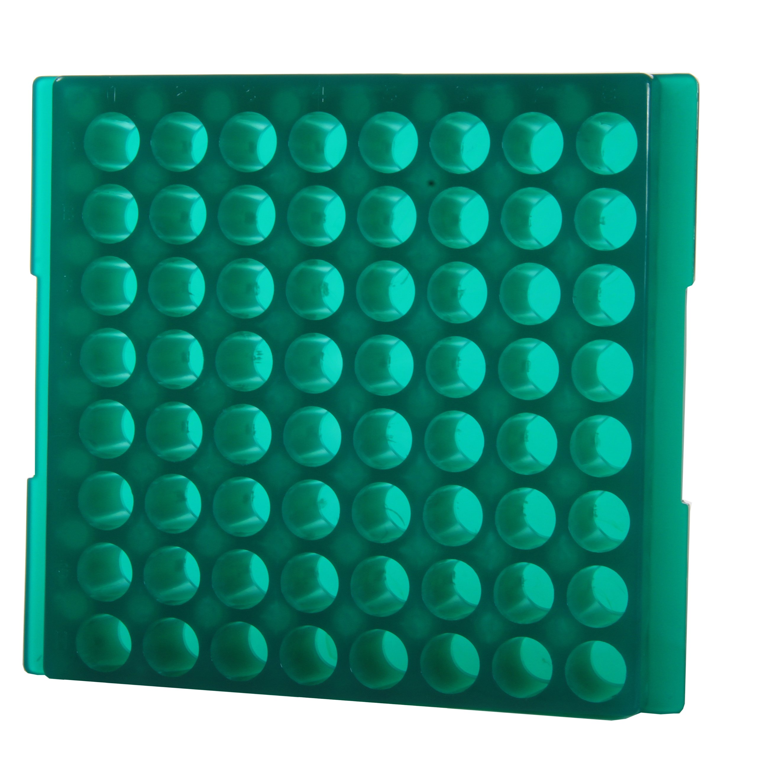 Bio Plas 0083F Fluorescent Green Polypropylene Reversible 1.5mL and 2.0mL Microcentrifuge Tube Rack, 64 Places (Pack of 5)