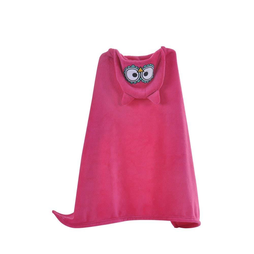 "Decdeal Hooded Flannel Blanket For Kids, 30"" X 40"", Super-soft Cartoon Animal Bath Towel Plush Cape Baby Shower Birthday, 6 Type"