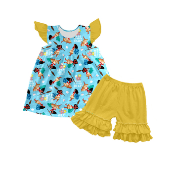 2018 New baby boutique clothing set lovely print beautiful children clothes online
