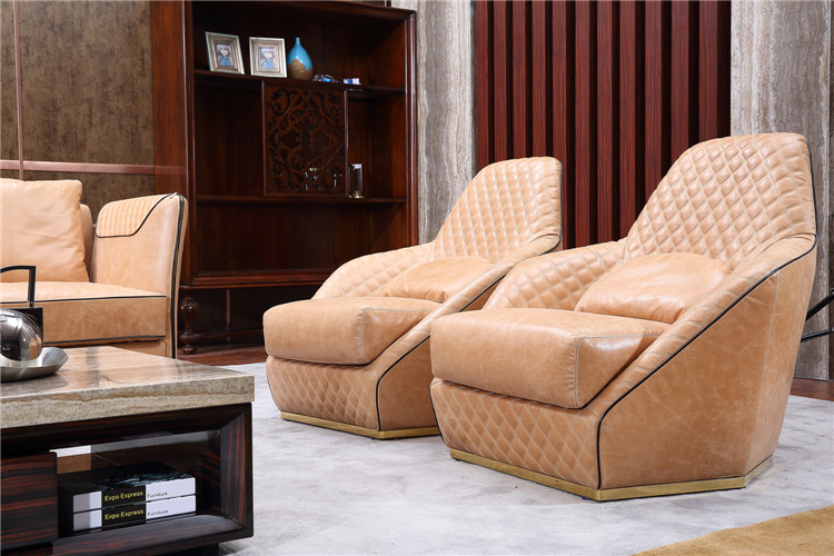 Foshan Guangdong Luxury Cow Leather Furniture Modern Living Room Sofa