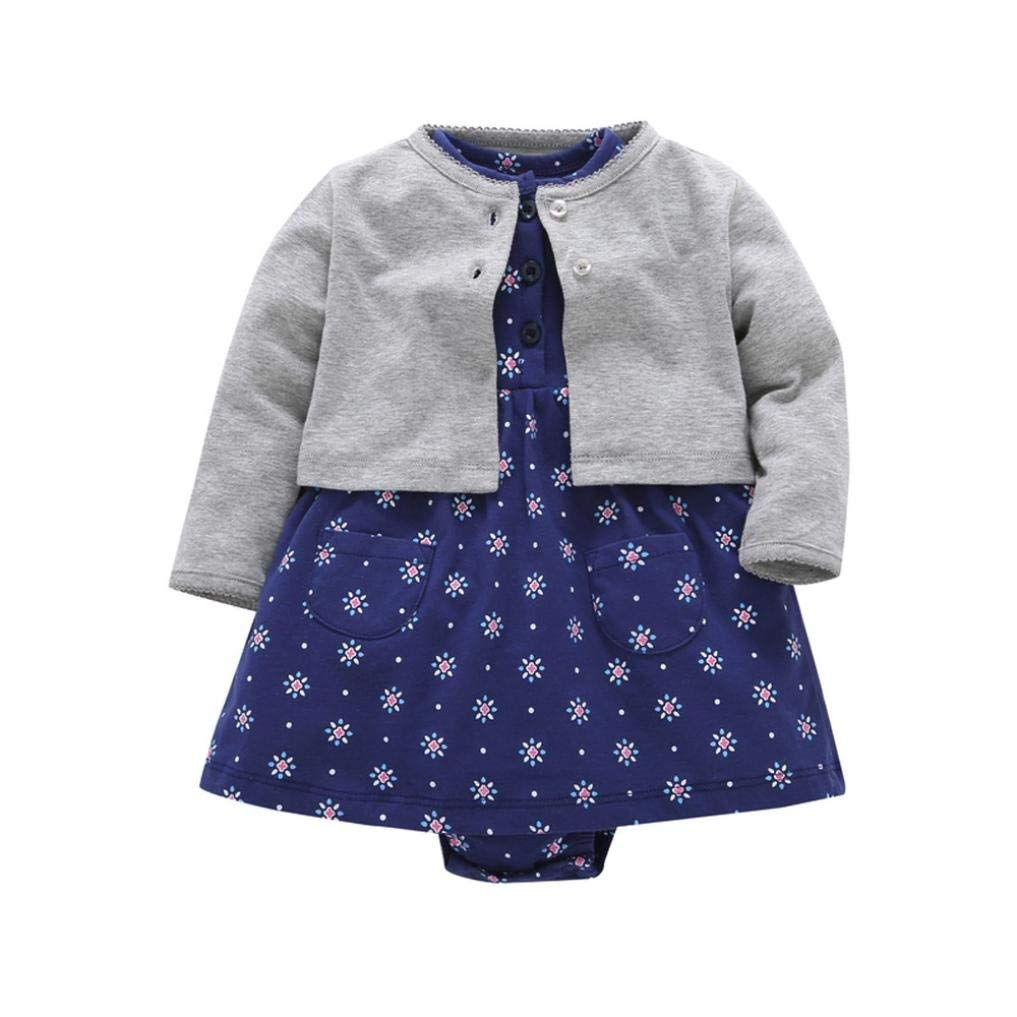 d785dde3c1b1 Get Quotations · Fabal Newborn Infant Baby Girls Floral Dress+ Solid Coat Outfits  Clothes Dress Set
