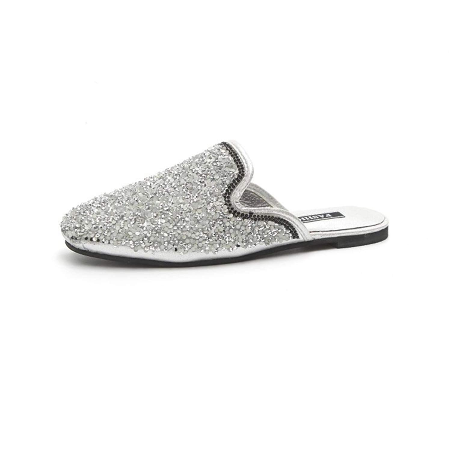 set adil Women Slip On Mules Pointed Toe Ruffle Trimmed Slides Backless Slippers Flats Sandals(silver-1-39/8.5 B(M) US Women)