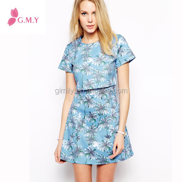 women casual back zipper cotton flower Fake dressed two long pieces