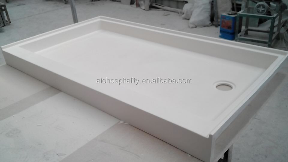 "60"" * 30"" * 3"" Rectangle Off-set Drain Cultured Marble Shower Pan Non-Slip Shower Base Cast Marble Textured Shower Tray"
