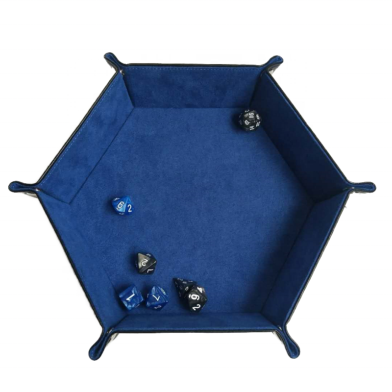 Wholesale custom pu leather foldable hexagon storage tray game dice tray фото