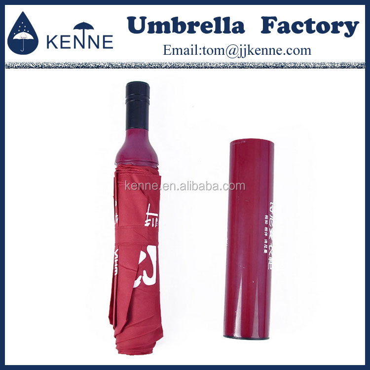 2017 New design top quality customized durable wine bottle umbrella made in china