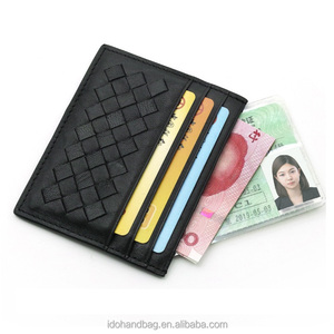 new sheep leather card holder woven sheepskin leather gift ID card credit card holder wallet