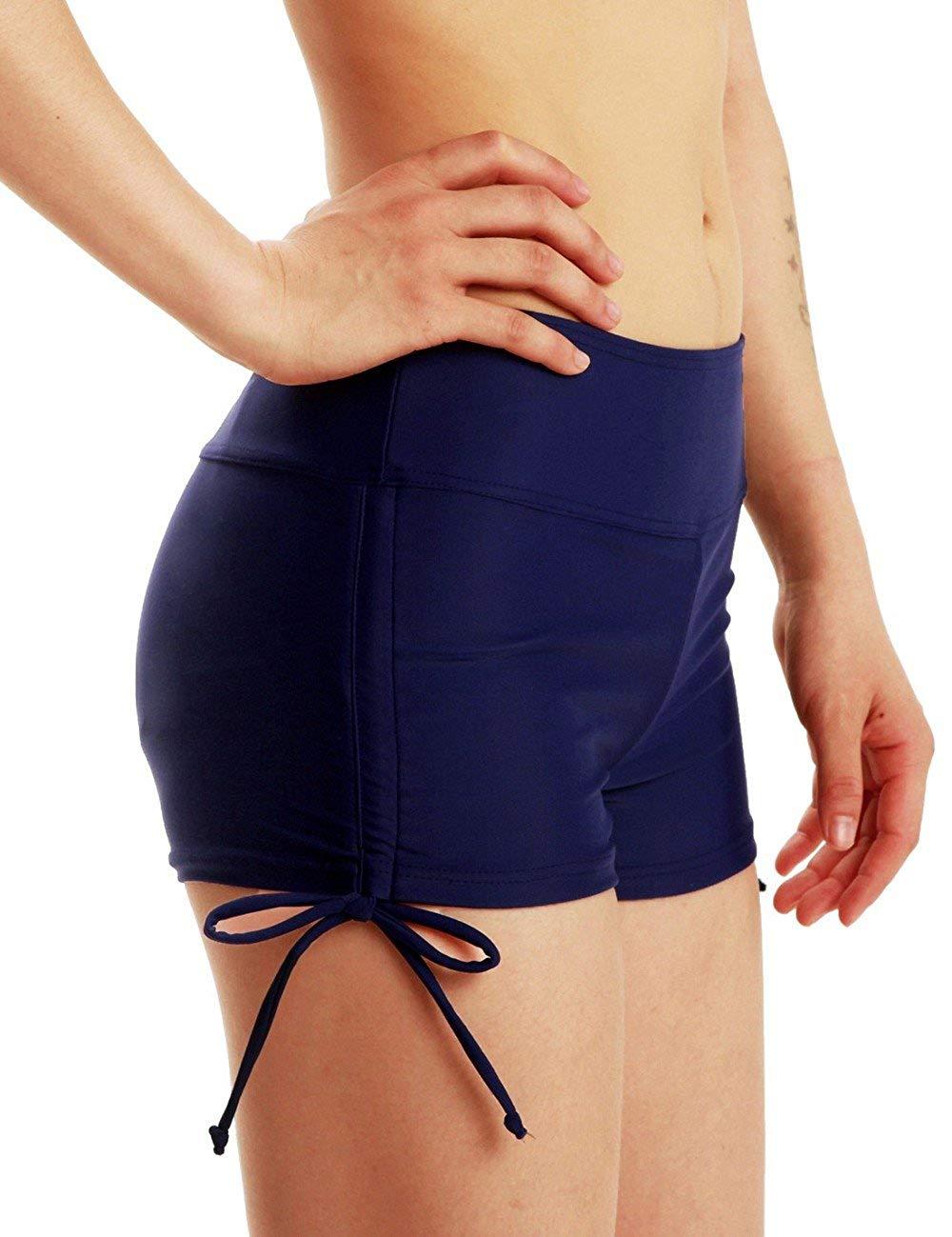 86ee30af88de Raisins Women's Red Boy Shorts Crazy Low Hipster Hoop Detail Bikini Swim  Bottom. Get Quotations · Mycoco Women's Boy Leg Swim Bottom Drawstring Boy  Shorts ...