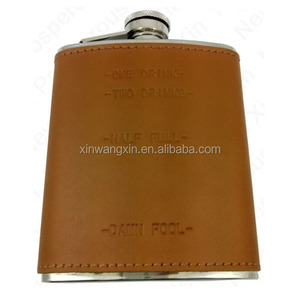 Logo Customized Metal Emboss 6 oz Stainless Steel Hip Flask